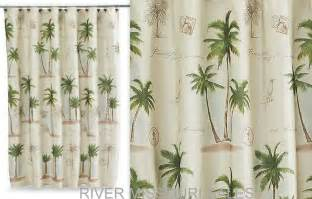 tropical paradise palm tree fabric shower curtain