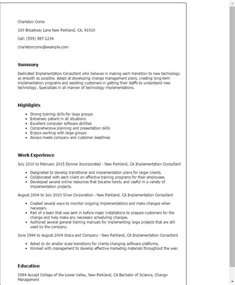 Customer Service Resume Summary Examples by Professional Implementation Consultant Templates To