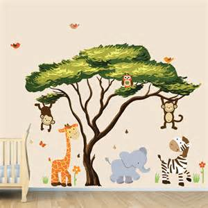 african tree with jungle animals wall decal wall stickers tree with jungle animals wall sticker by mirrorin