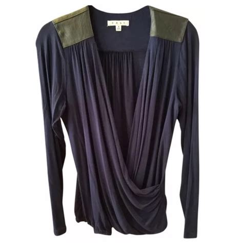 Hering Blue Leather Trim Blouse cabi cabi navy blue w black leather trim blouse med