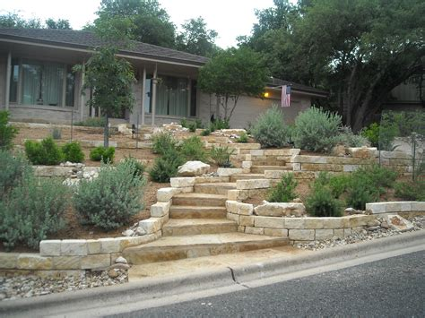 front yard retaining wall ideas xeriscape front yard with limestone retaining walls and a