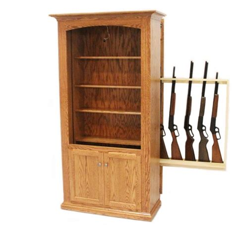 Storage Bookcase Gun Storage Bookcase Amish Gun Cabinet Oak
