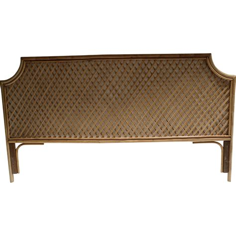 vintage quality king size bamboo rattan headboard from