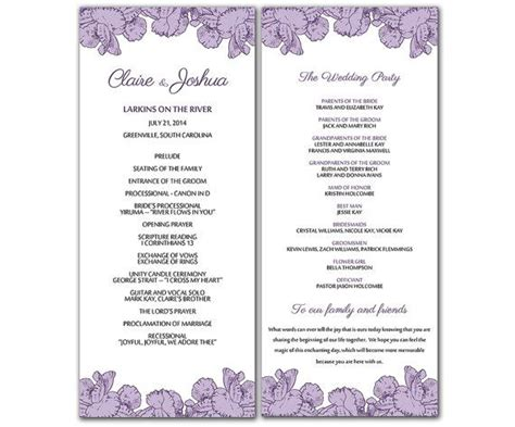 Diy Purple Poppy Flowers Wedding Program Microsoft Word Template Poppy Bouquet Ceremony Program Template Word