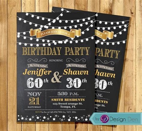 printable joint birthday party invitations adult joint birthday invitation string light invitation