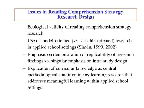 reading comprehension test validity ppt a knowledge based framework for unifying content