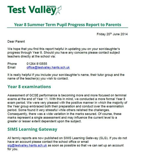 Progress Report Letter To Parents Test Valley School Year 8 Summer Term Pupil Progress