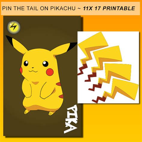 printable version of pin the tail on the donkey pin the tail on pikachu instant download printable