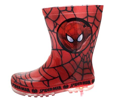 boy light up rain boots marvel spiderman light up wellington boots super hero rain