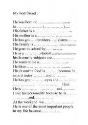 English worksheets my best friend 180 s description