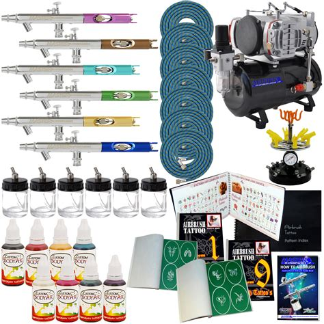 temporary tattoo kit pro 6 airbrush kit 8 comp hose airbr ink stncl