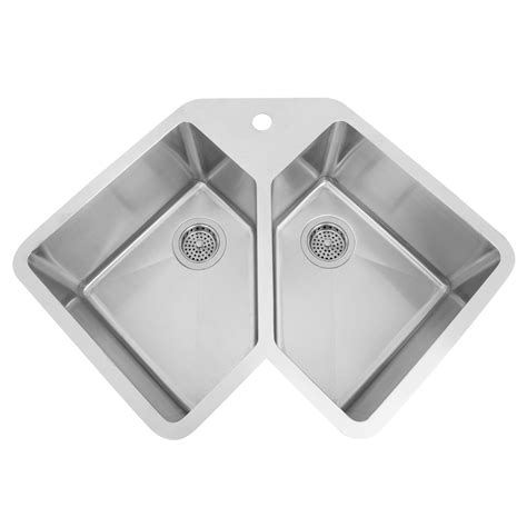 Sinks Stainless Steel by 33 Quot Infinite Corner Stainless Steel Undermount Sink Kitchen