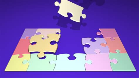 animated pieces colorful puzzle pieces coming together stock footage