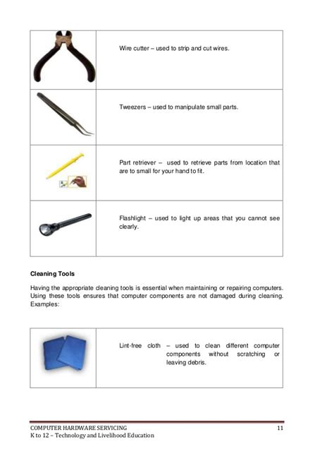 tools for drawing on computer k to 12 pc hardware servicing learning module