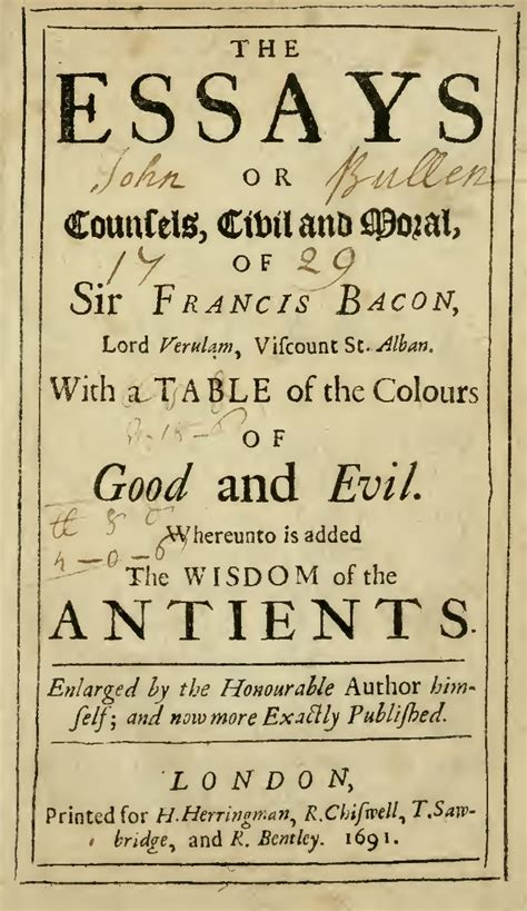 Prose Style Of Francis Bacons Essays by Essays Of Sir Francis Bacon Wisdom Of The Ancients