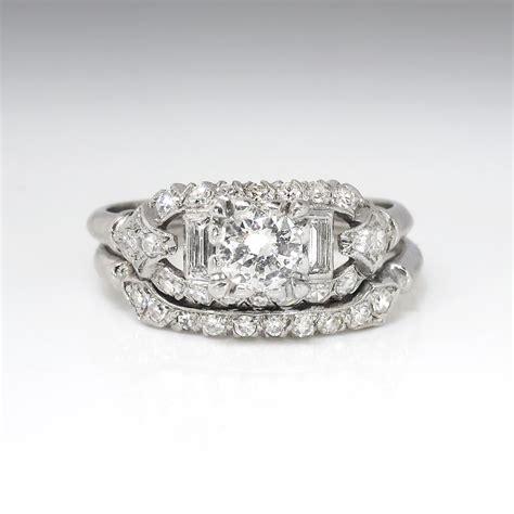 deco wedding ring set vintage deco 1930 s 81ct t w engagement wedding ring band set platinum antique