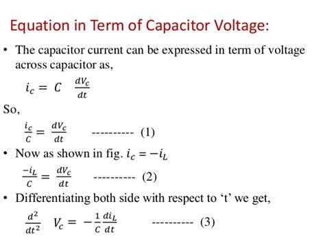 equation for discharging inductor time domain response of second order linear circuit