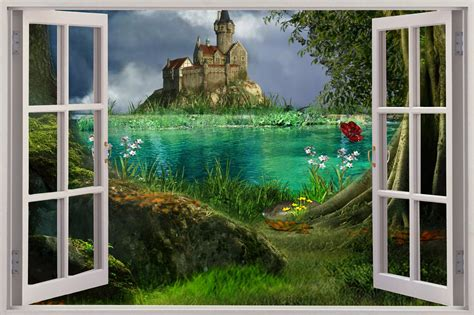 3d wall murals huge 3d window view enchanted castle wall sticker mural