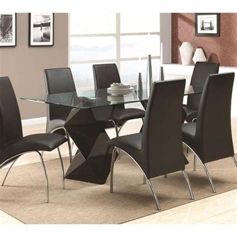 Rectangular Glass Dining Table Set Ophelia Contemporary 7 Dining Set With Rectangular Glass Top Table Quality Furniture At