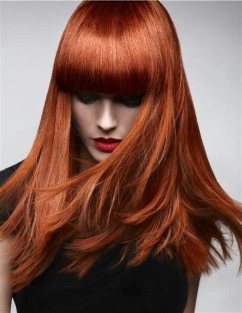 how to fix copper hair copper red auburn hair blunt fringe bangs redheads