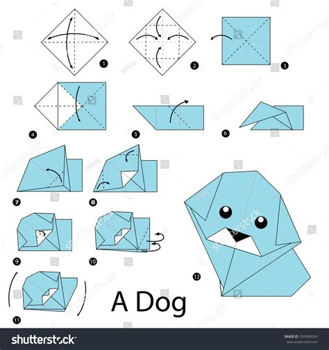 How To Make Origami Dogs - step by step how make stock vector 331406543