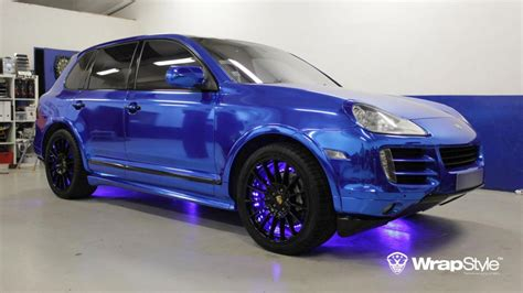 chrome wrapped cars bling bling blue chrome wrap porsche cayenne by tintek