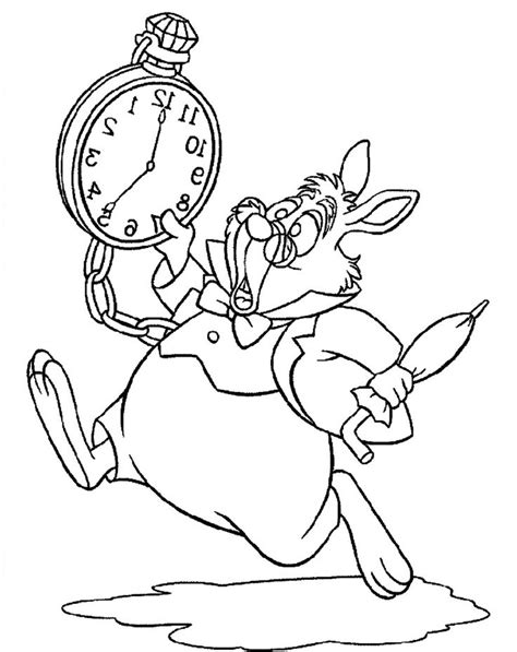 running rabbit coloring page alice in wonderland white rabbit run and panic alice in