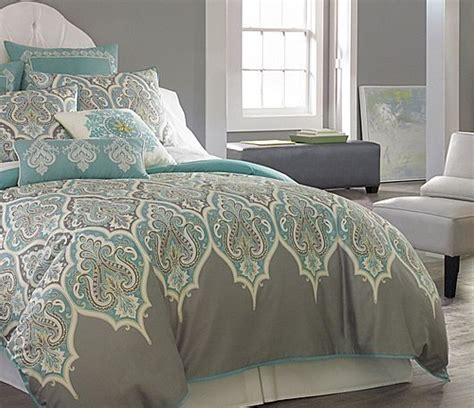 3 pc queen teal gray comforter set aqua blue grey