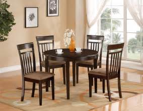 Kitchen Tables Furniture by 5 Pc Round Kitchen Dinette Table Amp 4 Chairs Cappuccino Ebay