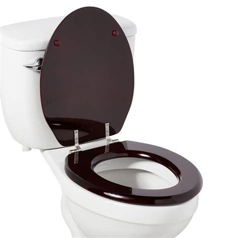 luxury toilet seat  standard hinges mahogany bathroom
