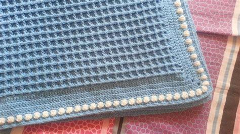 Crochet Popcorn Stitch Baby Blanket by How To Crochet Baby Blanket Waffle Stitch With Popcorn