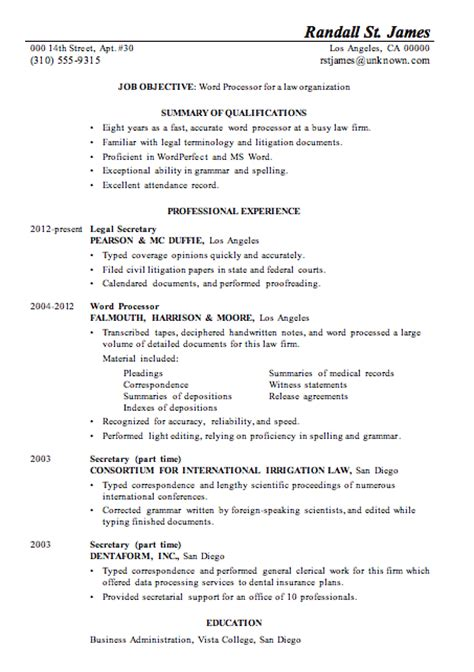 resume sle word processor for law firsm
