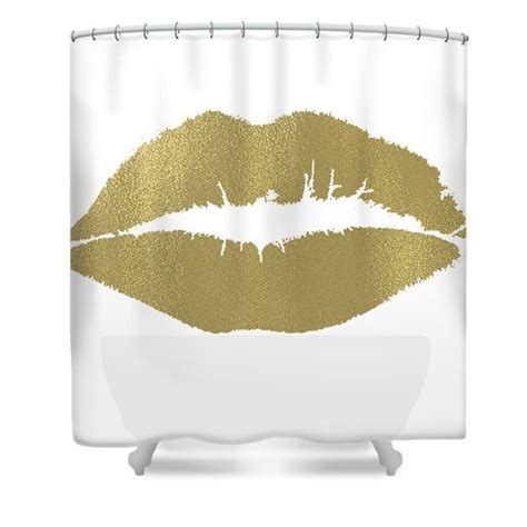 kiss shower curtain gold lips kiss shower curtain for the home pinterest