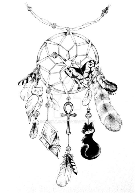 dreamcatcher tattoo black and white commission dreamcatcher black and white by marililc on