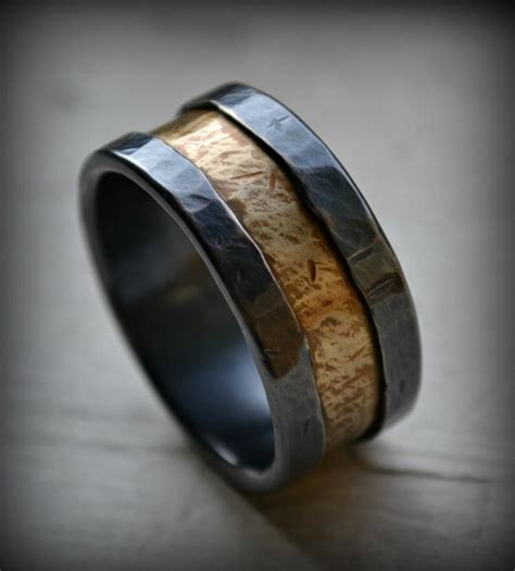 Handmade Mens Ring - mens wedding band rustic silver and brass ring