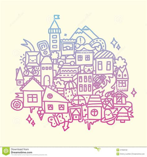 doodle city doodle city vector illustration stock vector