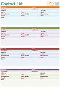 media contact list template contact list template in ms word 4 per page for personal
