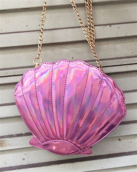 Shell Shape Clutch pink metallic mirror shell shape handbag clutch