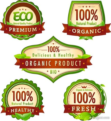 food product labels template 4 designer green organic product label vector material