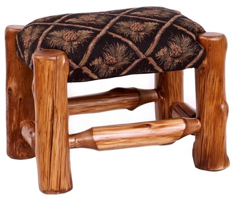 Footstool Upholstery by Upholstered Log Foot Stool The Log Furniture Store