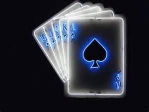 Photo Lighting Card Blue Black Neon Cards Casino Theme