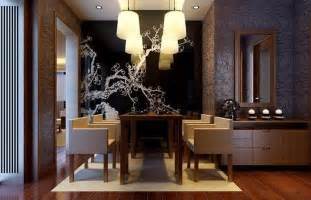 Modern Dining Room Interior Looking Wallpaper At Center Wall Of Dining
