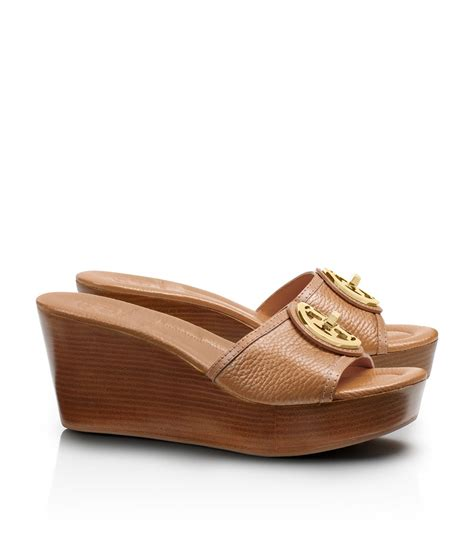 Selma Wedges Beige Moka burch selma mid wedge slides in brown lyst