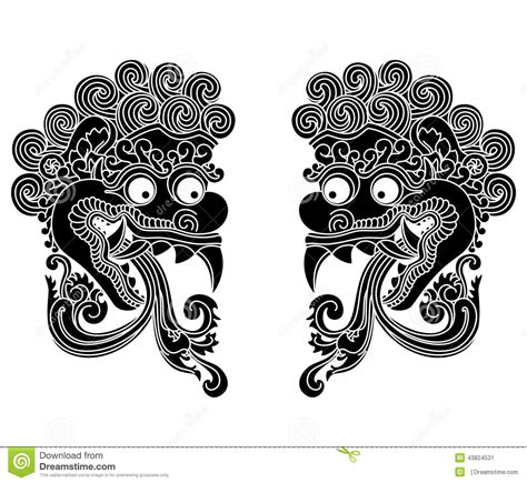 indonesian traditional pattern vector mythological gods head indonesian traditional art stock