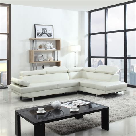 poundex white leather modern sectional sofa 2 piece contemporary modern faux leather white sectional
