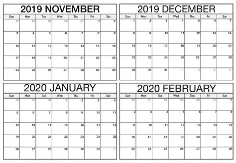 blank november   february  calendar magic calendar  printable