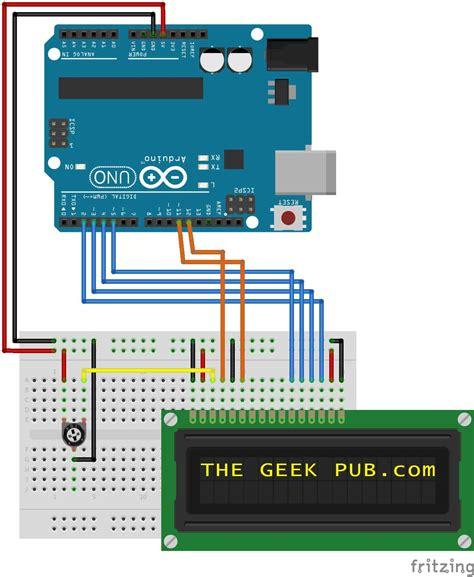 arduino lcd display wiring  geek pub