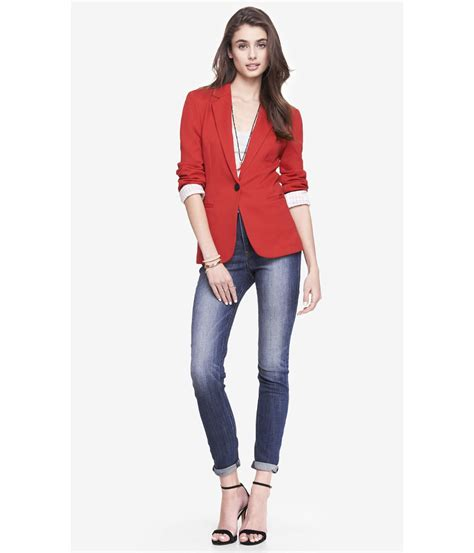 express knit blazer express 24 inch ponte knit blazer in lyst