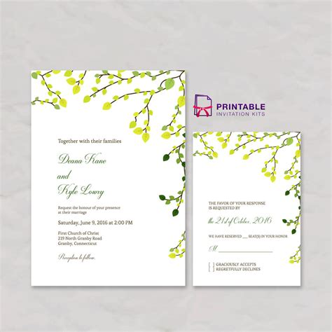 printable invitation kits greenery invitation and rsvp set wedding invitation
