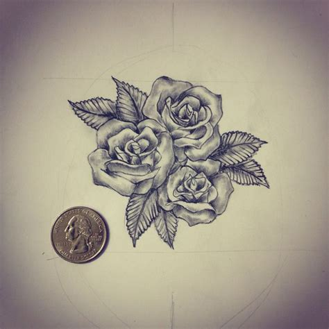 3 rose tattoos small roses sketch drawing ideas by